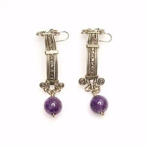 Jewelry - Modernist Silver Celestial Stars Purple Earrings